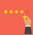 hand giving five star rating vector image vector image