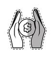 hand holding coins money safe cut shadow vector image vector image