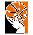 hand with basketball ball vector image vector image