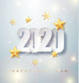 happy new year 2020 greeting card with silver vector image