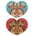 heart shape with ethnic floral paisley design for vector image
