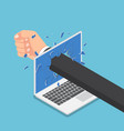 isometric businessman hand punch through laptop vector image