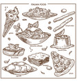 Italian cusine sketch dishes pizza pasta meat