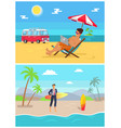 men with work as freelancers on sandy beaches set vector image