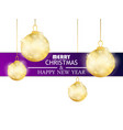 merry christmas and happy new year hanging golden vector image vector image