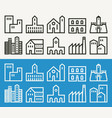 minimal buildings related outline icons vector image