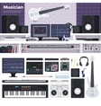 Musician workspace with musical instruments vector image vector image