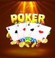 neon poker chips and cards casino banner vector image