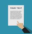 pointing hand with template document vector image