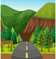 Road and mountain vector image