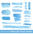 set blue watercolor brush stroke vector image