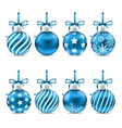 Set Christmas Blue Shiny Balls with Bow Ribbons vector image vector image