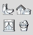 set clean house equipment and domestic service vector image vector image