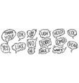 set hand drawn comic style speech bubbles vector image vector image