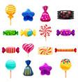 set single cartoon candies lollipop candy vector image vector image
