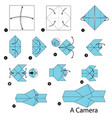 step instructions how to make origami a camera vector image vector image
