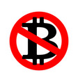 stop bitcoin it is forbidden cryptocurrency red vector image