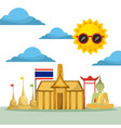 thai building temple flag monument buddha vector image