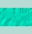 turquoise crumpled wrinkled paper texture vector image