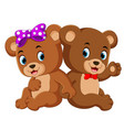 two cute bears using the ribbon vector image