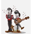 Two skeletons play accordion and Guitar vector image