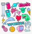 vaporwave teenager style doodle with dinosaur vector image vector image