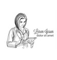 woman doctor writing notes sketch vector image