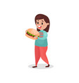 young fat woman eating giant burger harmful habit vector image