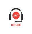 nonstop hotline support with headphones vector image