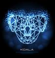 abstract polygonal tirangle animal koala neon vector image vector image
