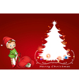 an elf beside christmas tree vector image vector image