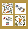 autumn cards with brush lettering typography vector image vector image