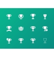 Awards icons on green background vector image vector image