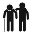 boy help senior man icon simple style vector image vector image