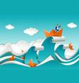 businessman in boat on top ocean wave vector image vector image
