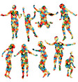 children silhouettes made of floral pattern vector image vector image
