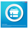 christmas gift box icon abstract blue web sticker vector image vector image