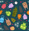 colorful kitchen aprons with patterns icons vector image vector image