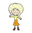 comic cartoon happy girl giving thumbs up symbol vector image vector image