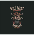 cowboy skull t shirt graphic design vector image