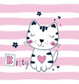 cute with funny cat for kids design vector image vector image