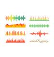 different color sound waves set clipart vector image