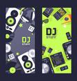 dj stuff on vertical banner nightclub party vector image