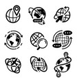earth globe icon set isolated flat world map vector image vector image