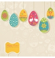 Easter background with eggs hanging on the ropes vector image