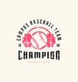 emblem baseball champion team vector image vector image