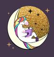 fantasy unicorn reading book on moon vector image