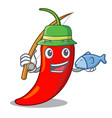 fishing hot chili pepper on cartoon table vector image vector image