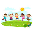 group happy kids jumping on summer meadow vector image vector image