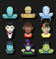 halloween party role characters avatar bust icons vector image vector image